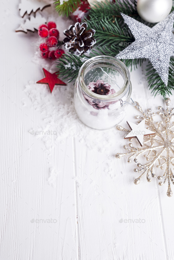 candle and Christmas decoration - Stock Photo - Images