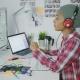 Trendy Designer Working with Computer