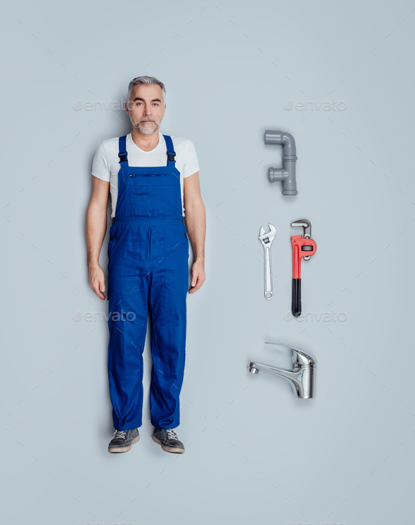 Realistic plumber doll - Stock Photo - Images
