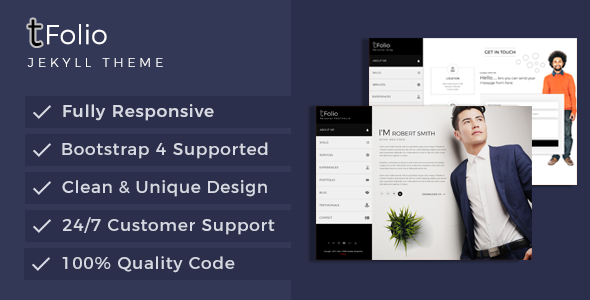 Download Tfolio - Personal Portfolio & CV / Resume Jekyll Theme            nulled nulled version