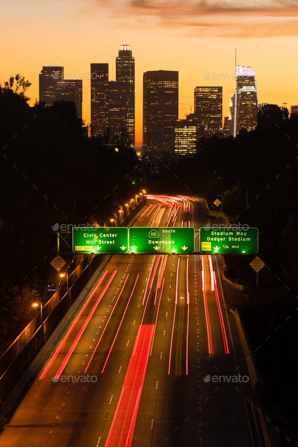 Los Angeles Downtown City Skyline Rush Hour Traffic Dusk - Stock Photo - Images