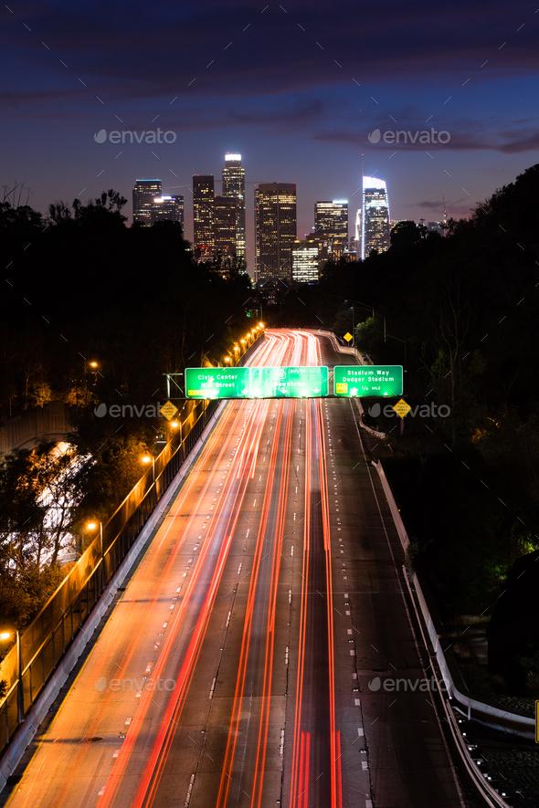 Los Angeles Downtown City Skyline Rush Hour Traffic Dusk