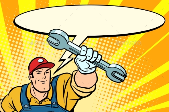 GraphicRiver Male Repairman with a Wrench Says Comic Book 21042395