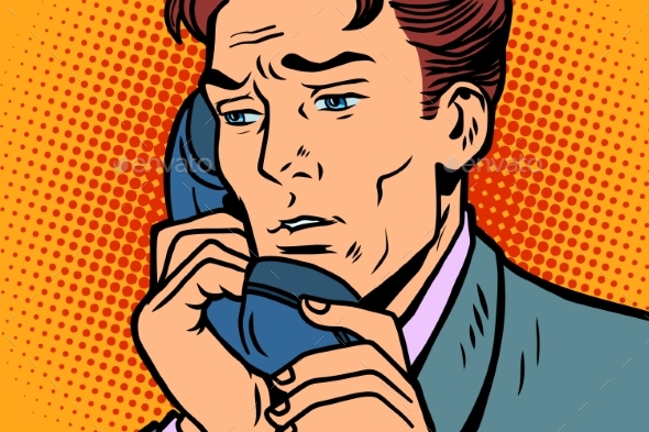 Pop Art Businessman Talking on the Phone - People Characters