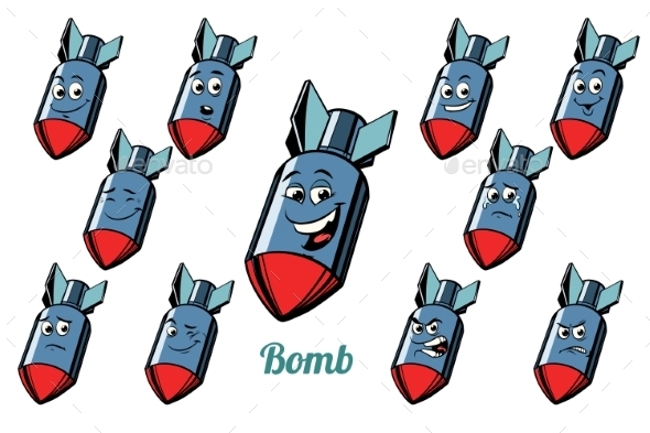 GraphicRiver Aircraft Bomb Emotions Emoticons Set Isolated 21042533