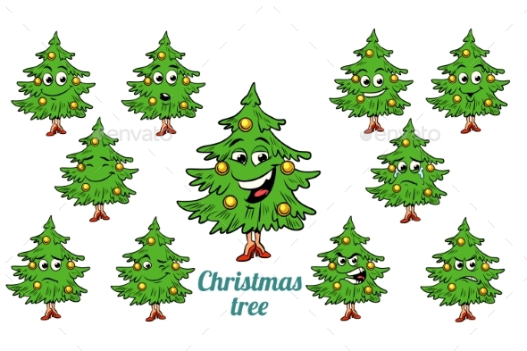 Christmas Tree Emotions Emoticons Set - Miscellaneous Characters