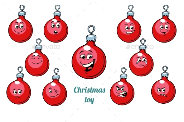 GraphicRiver Christmas Ball Emotions Emoticons Set 21042553