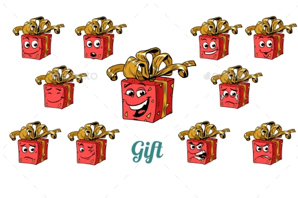 Gift Box Emotions Emoticons Set Isolated - Miscellaneous Characters