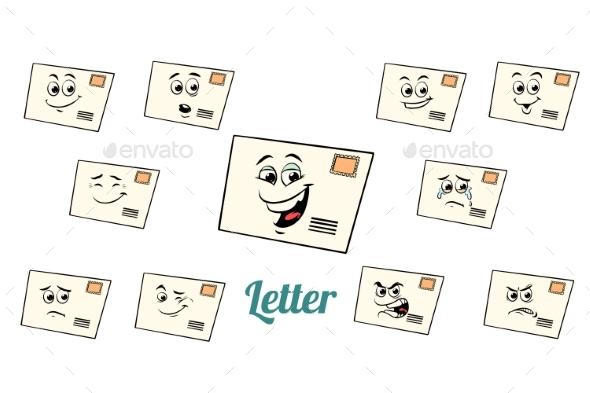 Postal Envelope Letter Emotions Emoticons Set - Miscellaneous Characters