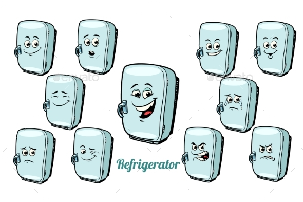GraphicRiver Refrigerator Emotions Emoticons Set 21042567