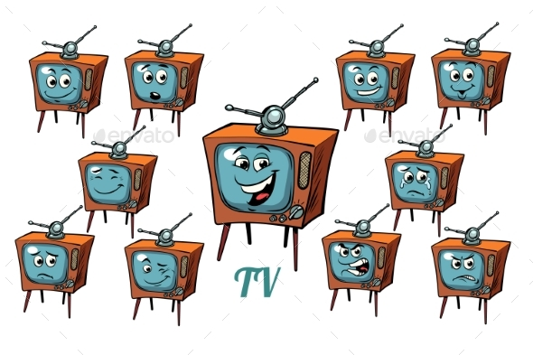 GraphicRiver TV Receiver Emotions Emoticons Set Isolated 21042582