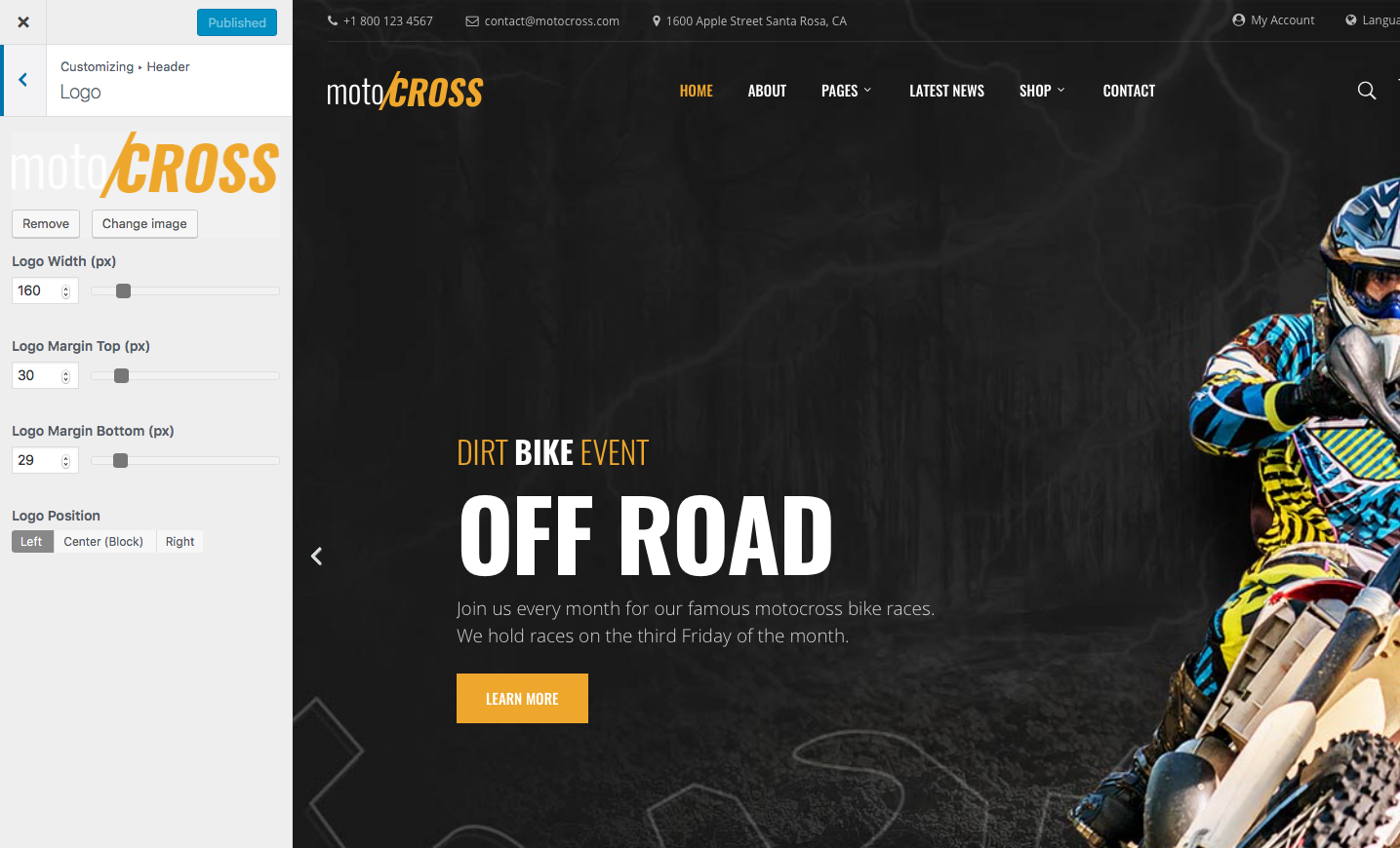 motocross motorcycle atv wordpress theme by. Black Bedroom Furniture Sets. Home Design Ideas