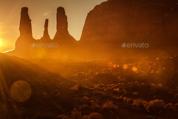 Scenic Monument Valley Sunset - Stock Photo - Images