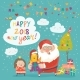Santa Claus Giving a Gift Box with Dog to Girl - GraphicRiver Item for Sale