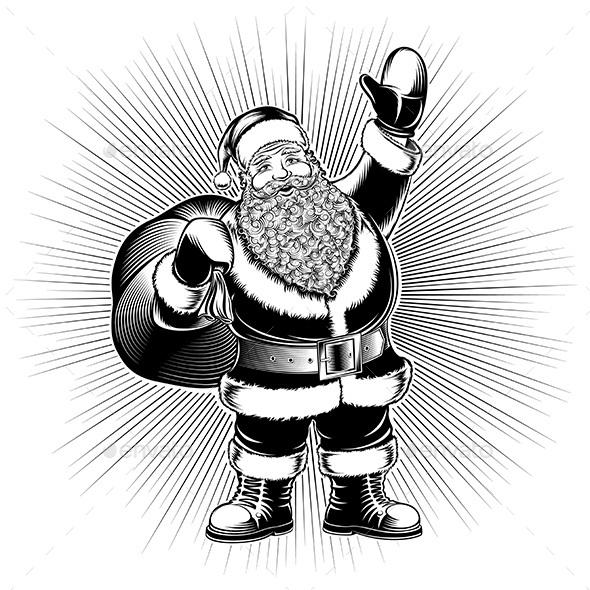 Santa Claus Cartoon Character Retro - Christmas Seasons/Holidays
