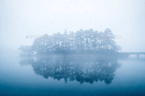 lake in fog - Stock Photo - Images