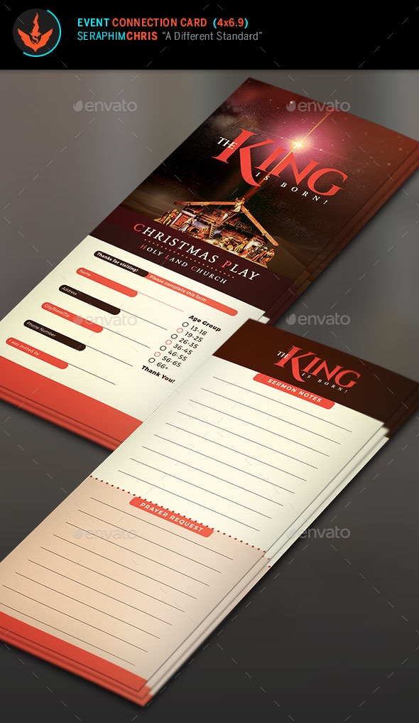 The King Is Born Christmas Connection Card Template - Miscellaneous Events