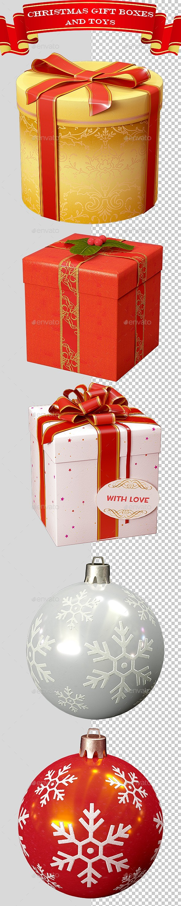 3D Christmas Gift Boxes and Toys Ver.1 - Objects 3D Renders
