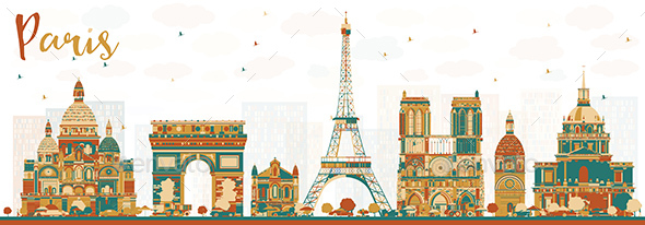Paris France Skyline with Color Landmarks - Buildings Objects