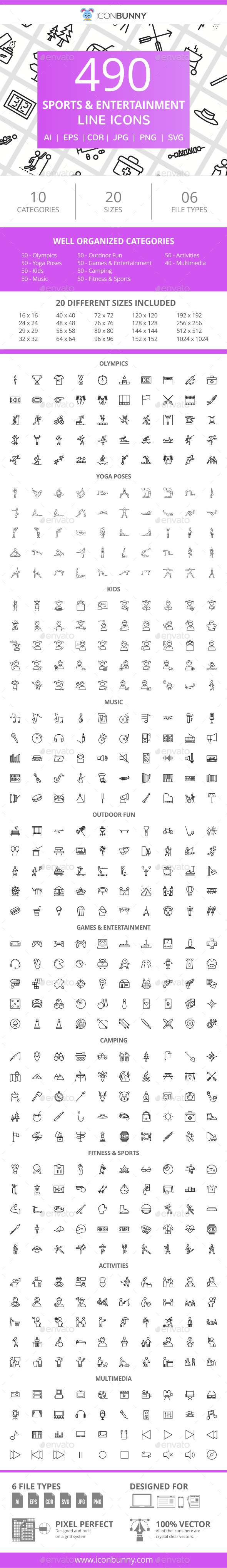 GraphicRiver 490 Sports & Entertainment Line Icons 21043568