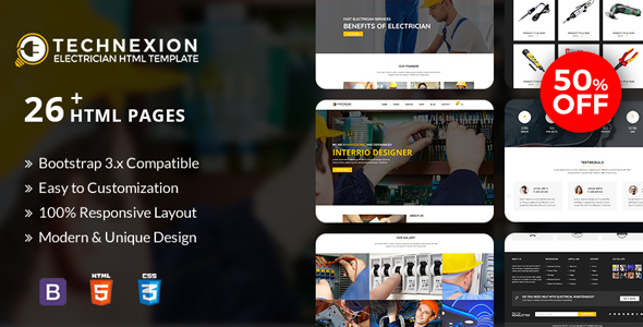 Technexion - Responsive html5 template for Electrical and Electricians