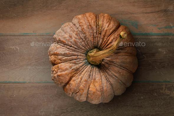 pumpkin on wooden floor - Stock Photo - Images