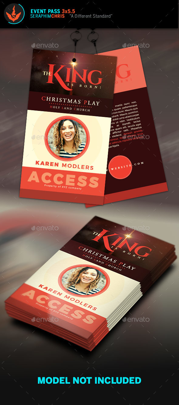 The King Is Born Christmas Event  Pass Template - Miscellaneous Print Templates
