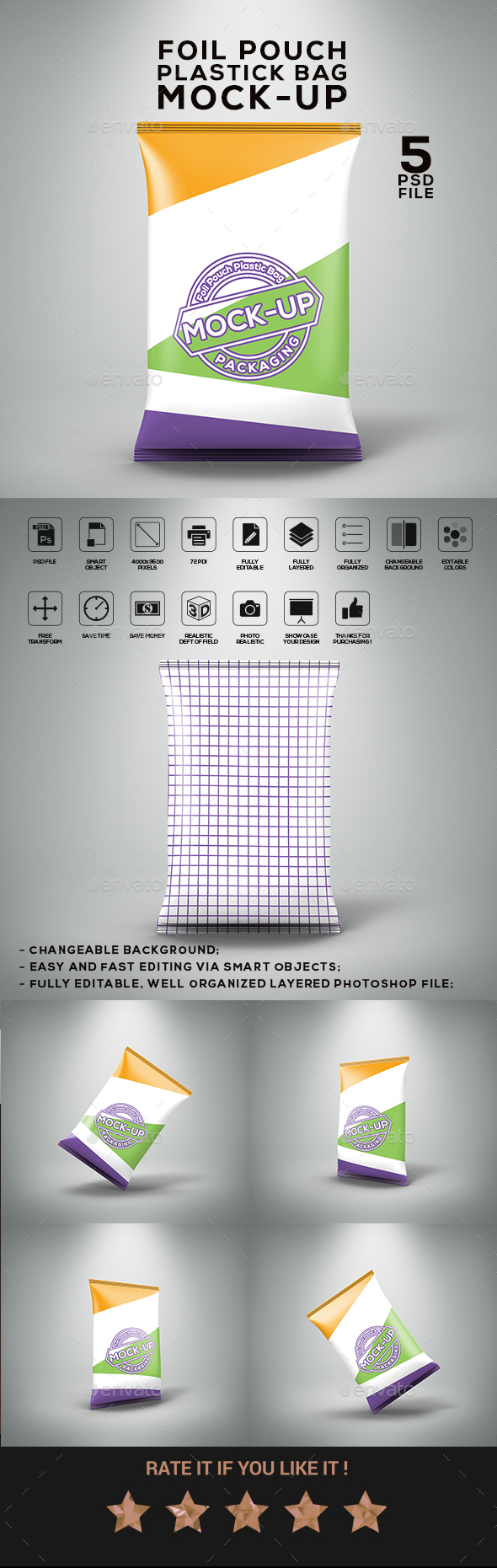 GraphicRiver Foil Pouch Plastic Bag Mock-Up 21043618