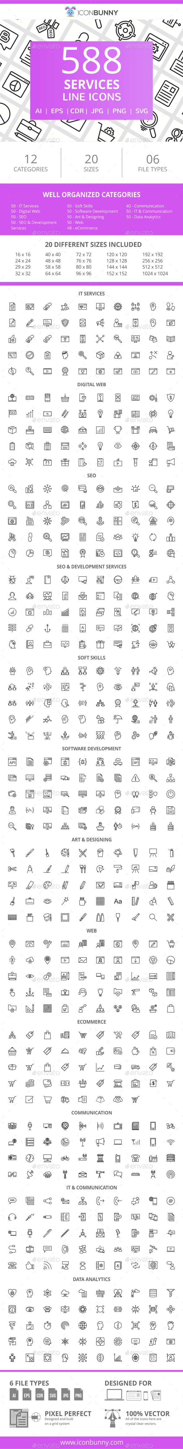 GraphicRiver 588 Services Line Icons 21043625