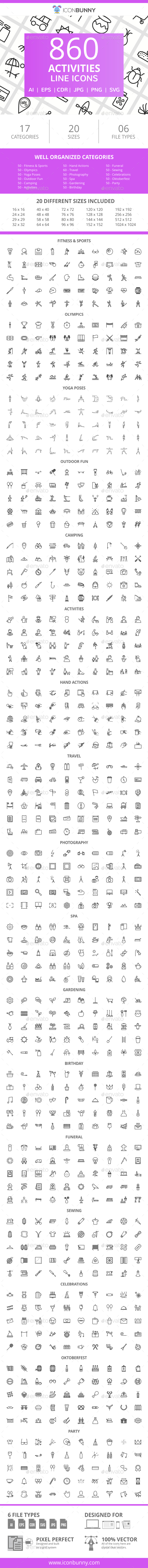 GraphicRiver 860 Activities Line Icons 21043658