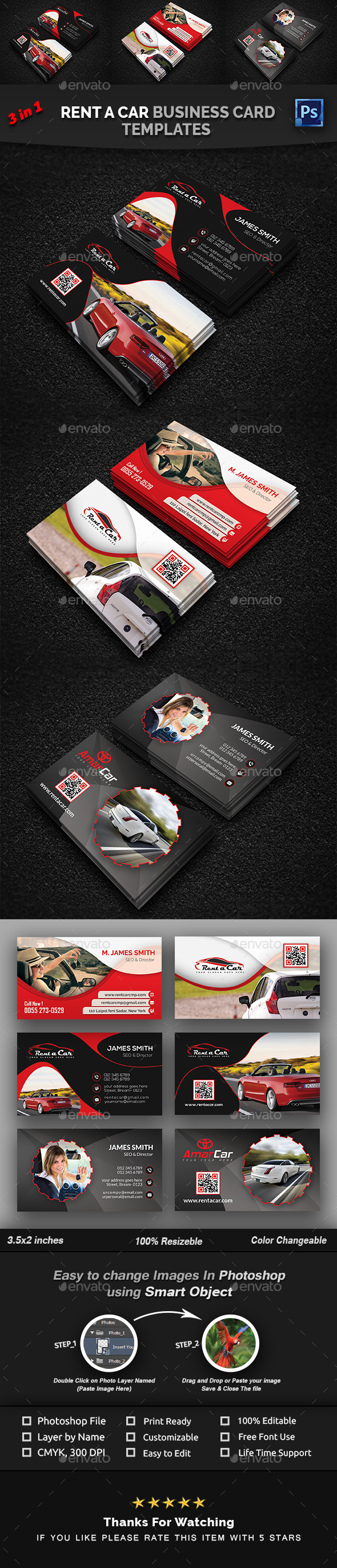 GraphicRiver Rent a Car Business Card Bundle 21043660