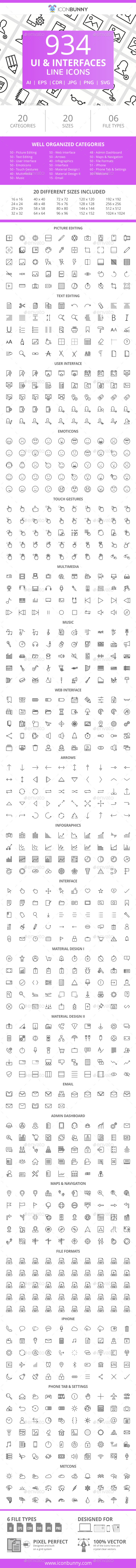 GraphicRiver 934 UI & Interfaces Line Icons 21043670