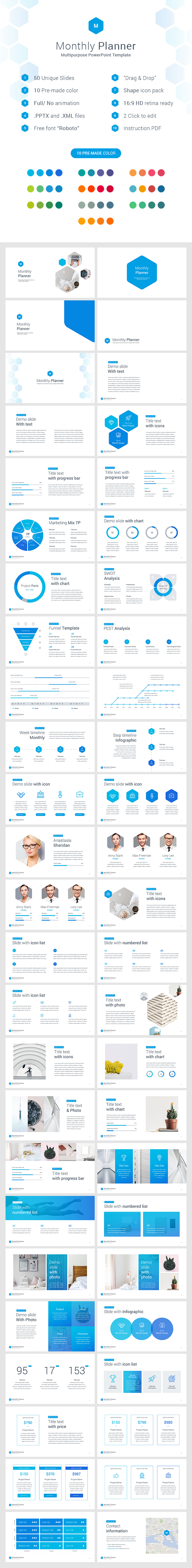 Monthly Planner PowerPoint Template - Business PowerPoint Templates