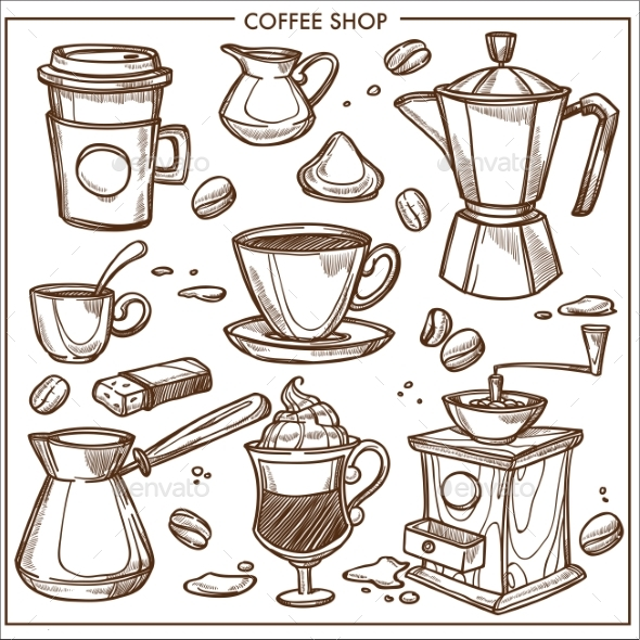 GraphicRiver Coffee Shop Maker Equipment Tools Vector Sketch 21043764