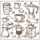 Coffee Shop Maker Equipment Tools Vector Sketch