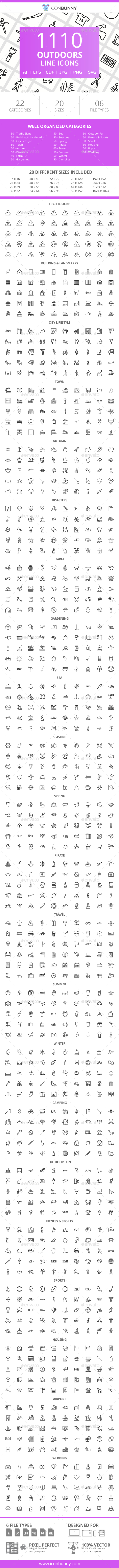 GraphicRiver 1110 Outdoors Line Icons 21043853