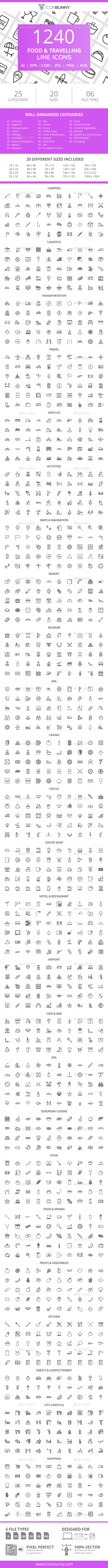 GraphicRiver 1240 Food & Travelling Line Icons 21044358