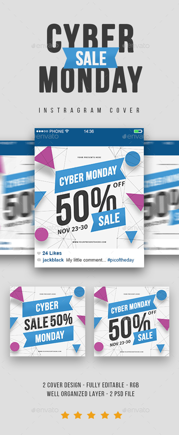 GraphicRiver Cyber Monday Instagram Cover 21044370