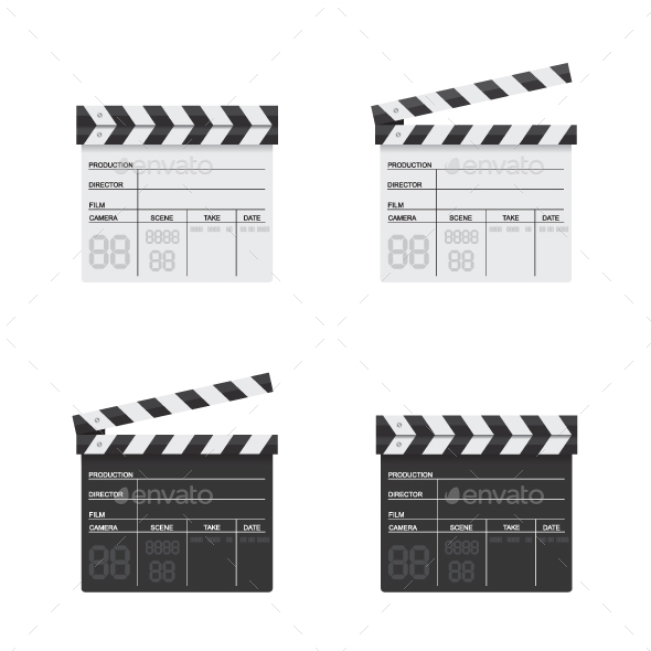 GraphicRiver Clapper Board Black and White Illustration 21044447