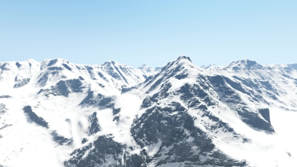 VideoHive Aerial Shot of Snowy Mountains and Clear Sky 21044470