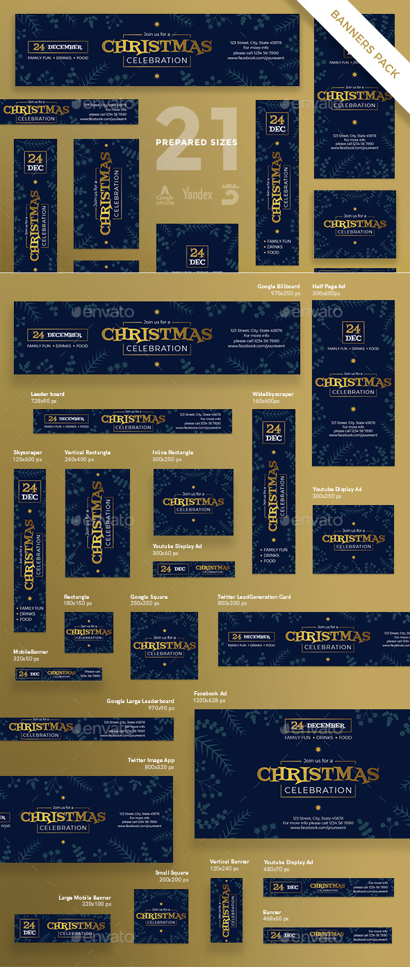 Christmas Celebration Banner Pack - Banners & Ads Web Elements