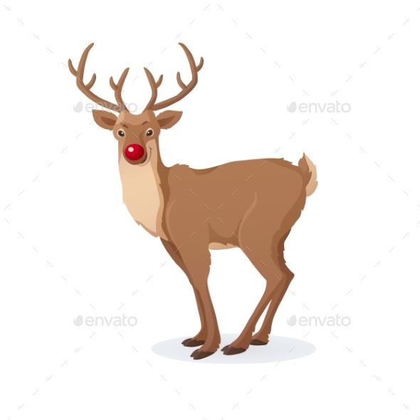 Cartoon Christmas Illustration of Red Nose Reindeer - Christmas Seasons/Holidays