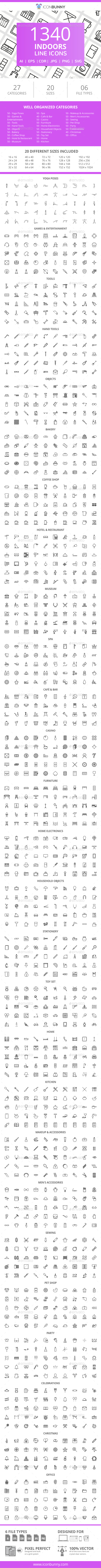 GraphicRiver 1340 Indoors Line Icons 21044703