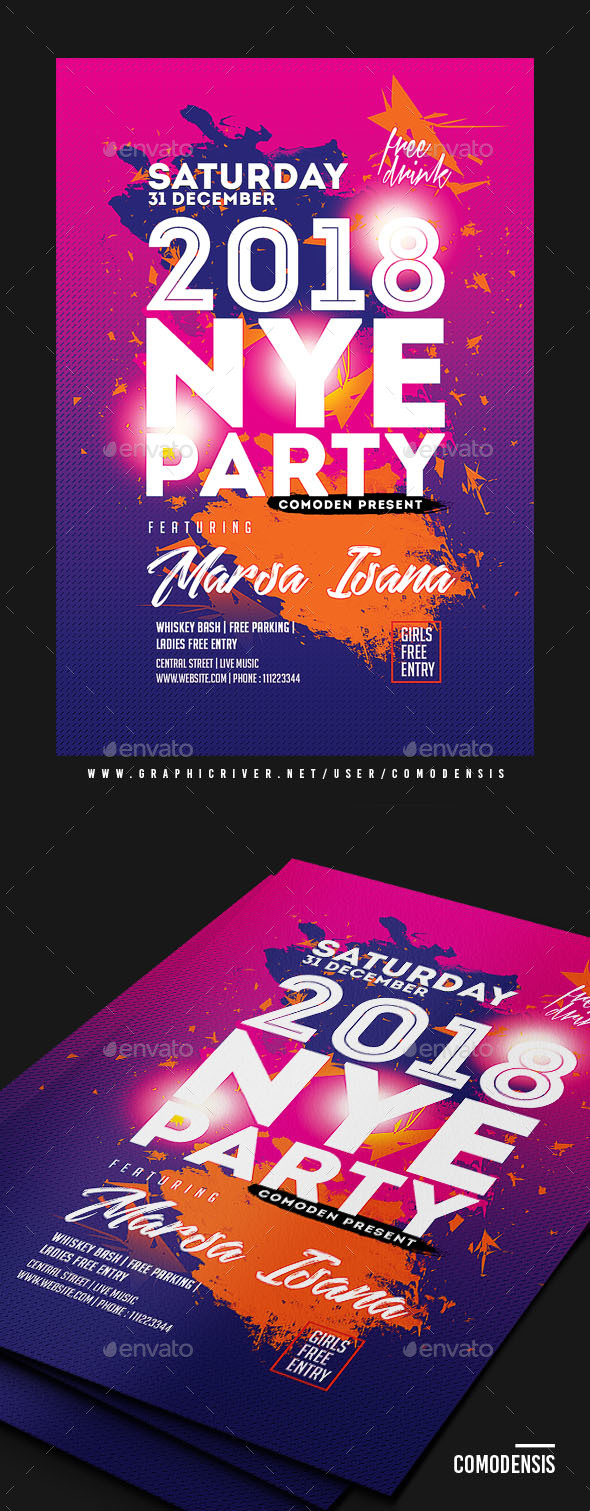 GraphicRiver NYE 2018 Flyer Template 21044808