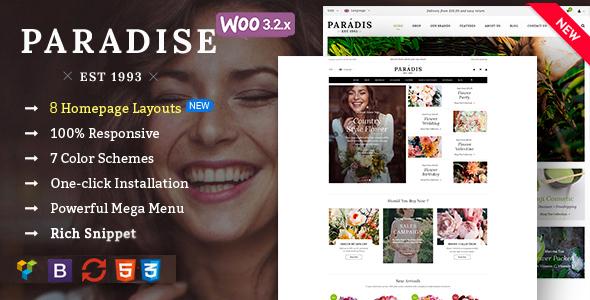 Paradise - Responsive WooCommerce WordPress Theme Free Templates