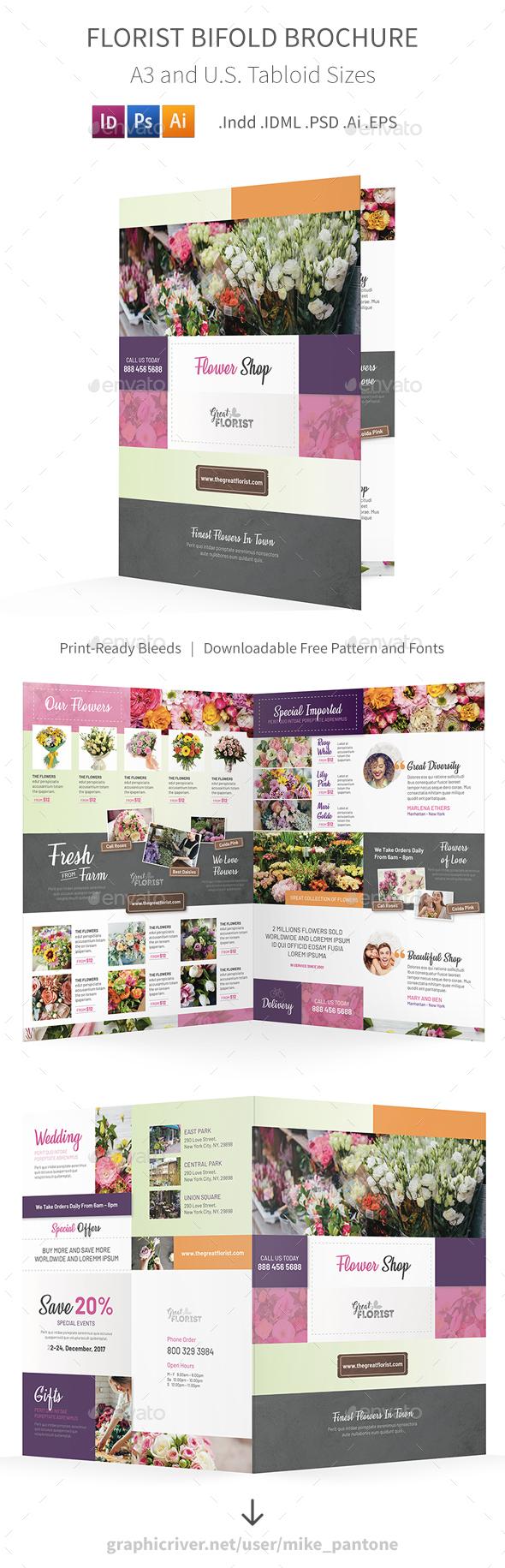 GraphicRiver Florist Bifold Halffold Brochure 3 21044895