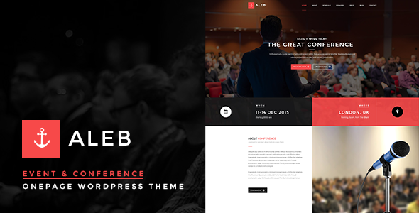 Aleb - Event Conference Onepage WordPress Theme - Marketing Corporate
