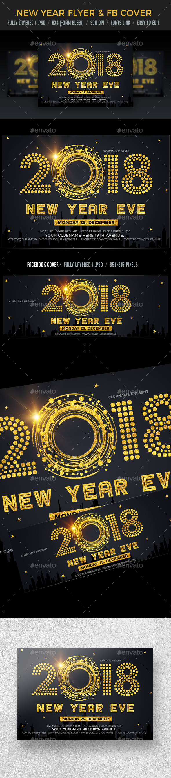 New Year Eve Flyer & FB Cover - Clubs & Parties Events