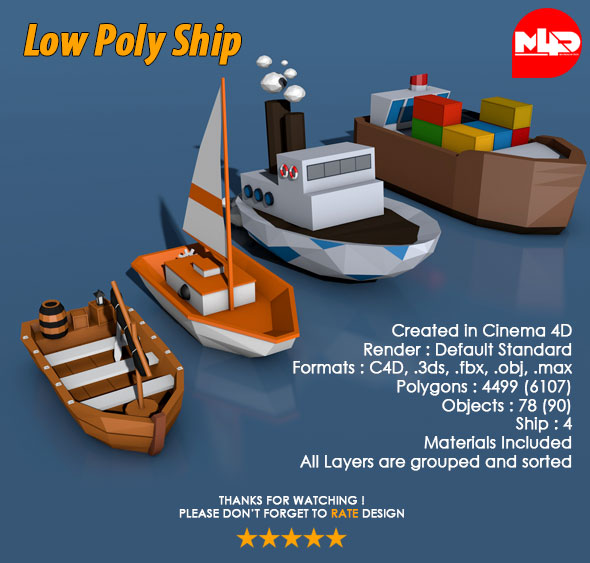 3DOcean Low Poly Ship Pack 21045444