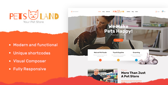 Pets Land | Pet Shop & Veterinary WP Theme